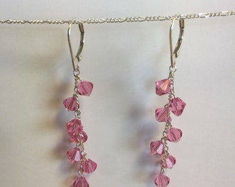 Pink Swarovski Crystal dangle earrings (pink sugar drops)