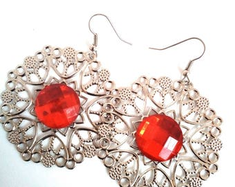 Earrings print with red cabochon