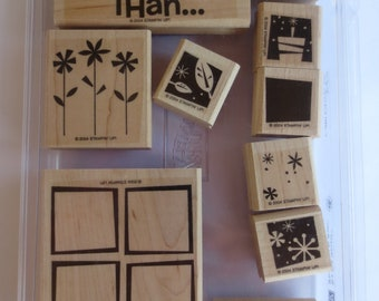 Stampin Up Block Set, What Could Be Better, 10 Wood Mounted Purple Rubber Stamps, Retired Set, Unused