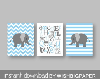 ELEPHANT NURSERY Art Print-Set of Three.Instant Download.Baby Boy Nursery Art Print.Alphabet Nursery Prints.Nursery Decor.Blue gray Nursery