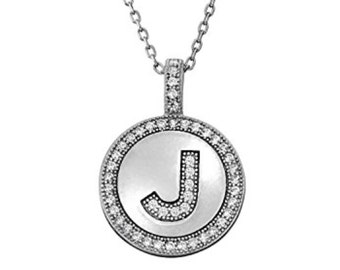 Initial Letter J Micro Pave CZ Pendant .925 Sterling Silver