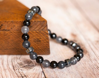 Shiny Black Onyx - Hematite - Blue Gray Quartz Natural Beaded Stacker Mens Bracelet