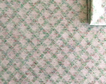 Vintage Fabric 70's Cotton/Polyester, White, Green, Diamond, Material, Textiles (1.8 Yards)