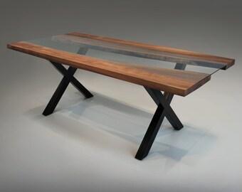 Walnut Live Edge & Glass Dining Table