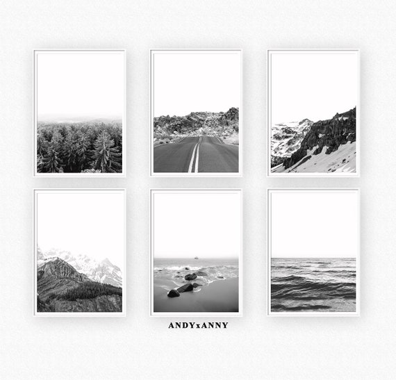 Set of 6 prints black and white prints scandinavian wall