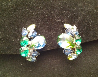 Weiss Clip Earrings Blue, Green and Blue-Green Stones
