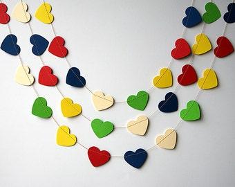 Rainbow heart garland, Rainbow garland, Green, blue, red, cream yellow garland, Nursery decor, Baby shower decor, Heart garland, KCO-3023