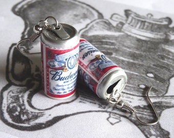 Budweiser Beer Earrings Miniature Beer Can 3D Budweiser Alcoholic Beverage Dangle Bud Charms PeculiarCollective Jewelry