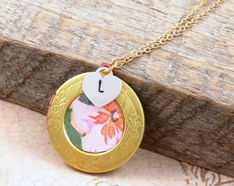 Vintage Flower Wallpaper Locket Necklace