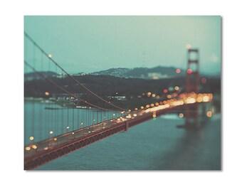 Golden Gate Bridge photograph, San Francisco canvas wrap, California photo, peppermint blue green, gold, red, night, romantic large wall art