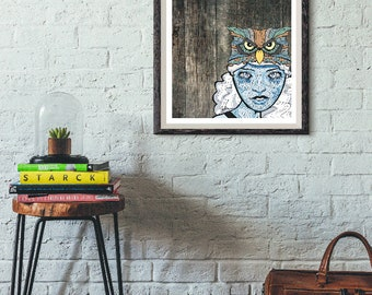 Modern Mountain Art Print - Barnboard - Wall Art - Blue Snow Goddess