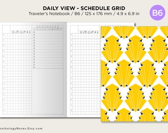 B6 Traveler's Notebook Printable Insert  DAILY Schedule  Do1P Grid, Weather, Water & Mood Tracker