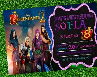 Descendants Invitation. Descendants Birthday, Descendants Party, Descendants Printable, Descendants 2 Invite