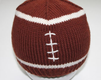 PATTERN - Football Baby Hat Knitting Pattern Size 0 to 3/6 to 12 Months/ 1-3 Years Knitted in the Round