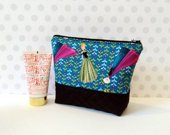 MOVING SALE! Large Makeup Pouch / Anna and Elsa Coronation Day