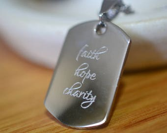 Custom Dog Tag, Mini Dog Tag Necklace, Inspirational Personalized Stainless Steel Necklace, Men's Customised Christian Faith Jewelry