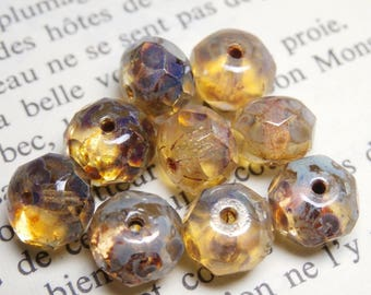 8 faceted 6x8mm cream finish Czech glass picasso R804
