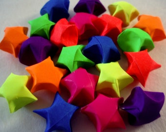 BACK IN STOCK - 21 Rainbow Bright Origami Lucky Stars - Bright and Colorful Stars - Wishing Stars - Party Favors, Confetti, Table Decor