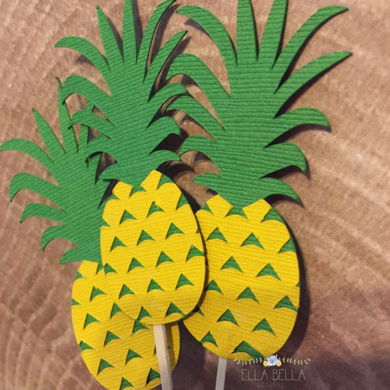 Pineapple cupcake toppers/Food Picks, summer Party