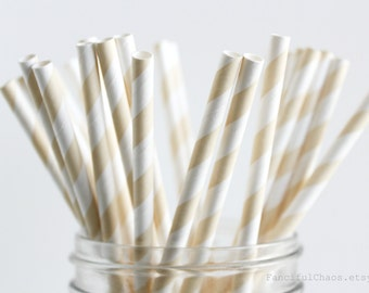 25 Ivory Cream Stripe Paper Straws - Garden Partys, Wedding, Birthday, Baby Shower, Celebrations