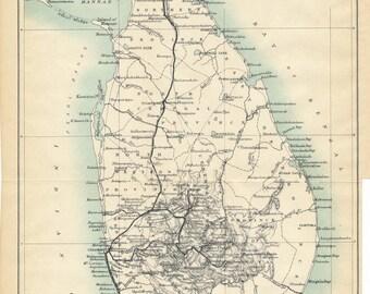 1909 Sri Lanka (Ceylon) Antique Map