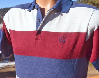 vintage 70s polo golf  shirt JOHN NEWCOMBE tennis mustache logo stripe preppy Medium Small soft