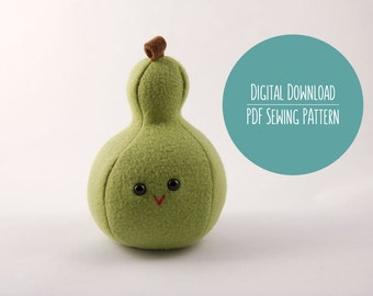 Pear Fruit Plushie Pattern, PDF Sewing Pattern, Pear Fruit Sewing Pattern