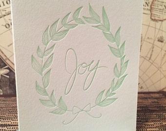 Joy Wreath - letterpress card