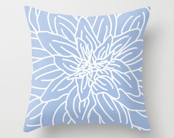 Modern Abstract Spring Flower pillow with insert Cover - Serenity Blue pillow with insert Cover - Home Decor - By Aldari Home