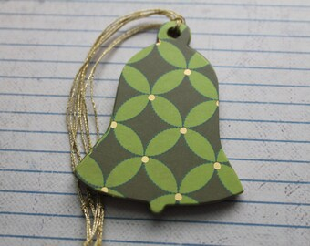 21 Handmade Bell shaped gold metallic on green paper over chipboard Christmas Hang Tags