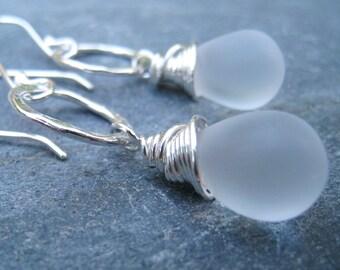 Frosted Glass Earrings, Hammered Hoop Earrings, Teardrop Earrings, Sterling Silver Earrings, White and Silver Earrings, SweetTaBou