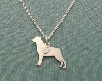 Rottweiler Dog Necklace, Sterling Silver Personalize Pendant, Breed Silhouette Charm Rescue Shelter, Memorial Gift