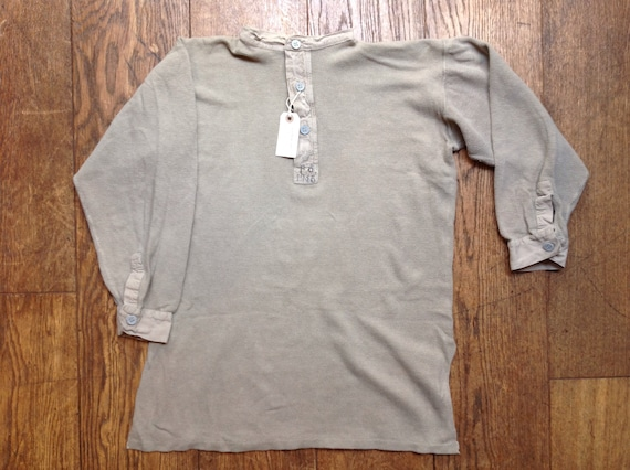 "Vintage 1940s 40s grey Swedish army military waffle thermal undershirt Henley shirt top 34"" 40"" 42"" 50"""
