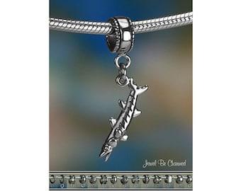 Sterling Silver Barracuda Charm or European Style Charm Bracelet .925