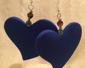 Big electric blue heart earrings