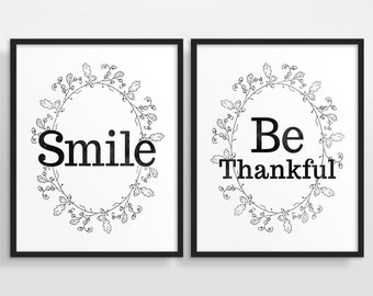 Typography Poster, Black and White Art, Inspirational Quote, Motivational Wall Art, Set of 2 - More colors