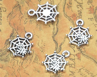 30pcs/lot spider web Charms silver tone small spider on spider's web charm pendant 18x13mm ASD2625