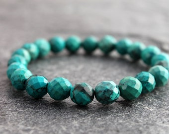 """turquoise stretch bracelet w/ faceted turquoise, stacking bracelet, chinese spiderweb turquoise, 5.5 - 6"""" wrist, December birthstone, small"""