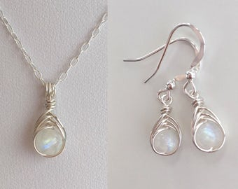 Moonstone necklace and earrings set, birthday gift for her, rainbow moonstone earrings, girlfriend, sister gift, best friend, birthstone