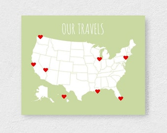 Boyfriend Gift, Travel Map With Stickers - DIY Map Kit, Family Travels Map, US Map, USA Couples Map Board, First Paper Anniversary, 11x14