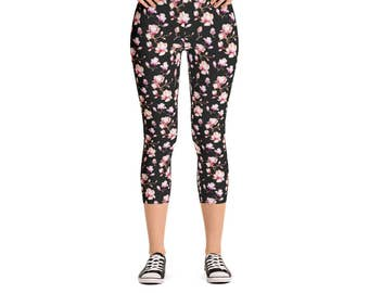 Magnolia Flower Leggings - Women's Active Wear Full Length or Capri Pants - Floral Zen Yoga - Sizes XS to XL - Polyester/Spandex - For Her