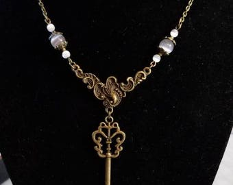"16 1/2"" Skeleton Key pendant necklace with White and Grey Cat Eye beads"