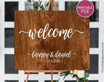 Wood welcome sign PRINTABLE Wedding signs Rustic welcome sign  Wood wedding Rustic wedding decor Wooden wedding sign Custom receprion sign