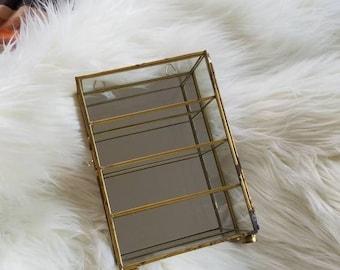 Brass & Glass Mirror Curio Cabinet, Small Trinkets, Jewelry