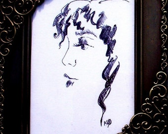ACEO Girl's Face in ballpoint pen with an ( 7.5 x 10cm) protective rigid sleeve   Frame NOT included