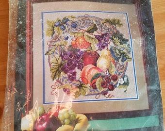 "Vintage 1992 Bucilla 4666 Kit - Array of Fruit 14"" X 14"""
