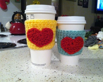 Coffee Cup Cozy- Yellow or Mint Green with Red Heart