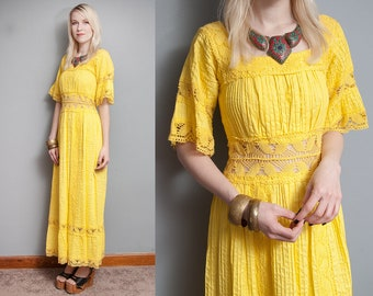 Vintage 1970's I Bright Yellow | Mexican | Ethnic | Lace | Maxi Dress | XS/S