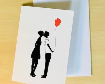 Lesbian Silhouette Couple 02 - Lesbian birthday card - lesbian birthday gift - lesbian girlfriend gift - lesbian girlfriend card