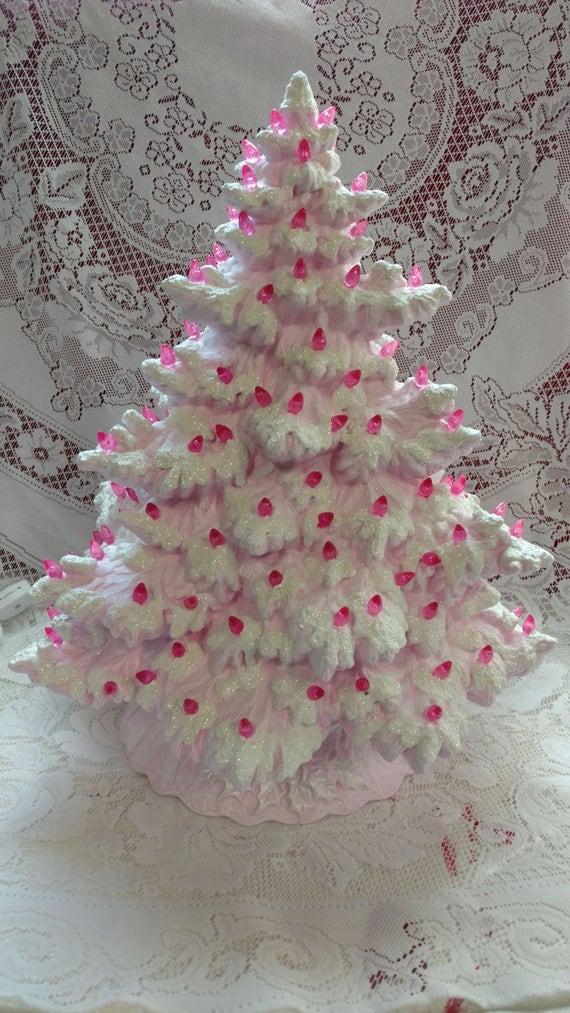 17 Frazier Fir Lighted Ceramic Christmas Tree Pink